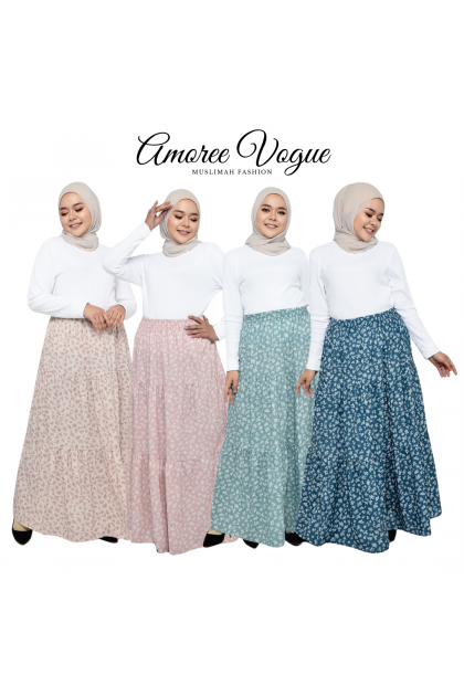 Amoree Layer Floral Silk Crepe Skirt Plus Size fit S to 3XL (30069-3-2)