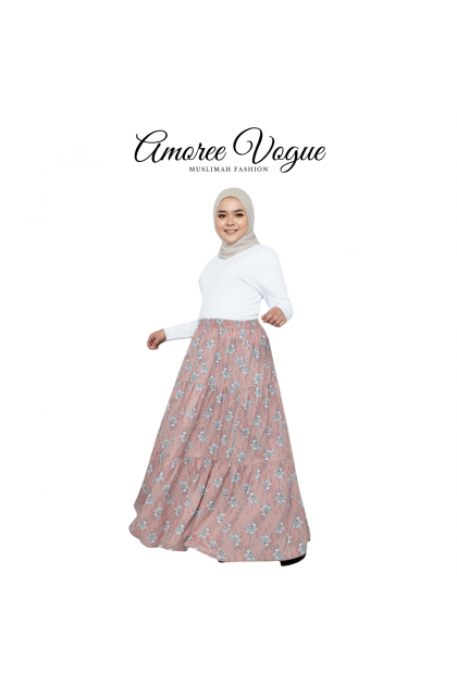 Amoree Layer Floral Silk Crepe Skirt Plus Size fit S to 3XL (30069-3-3)