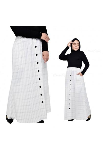 30086 Amoree Petak-Petak Button Stretchable MAxi Skirt Fit S~3XL Muslimah Plus Size Skirts Maxi