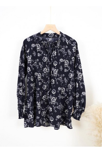 7263 Amoree Abstract Pleated Blouse